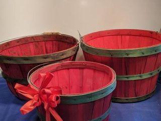 three red baskets