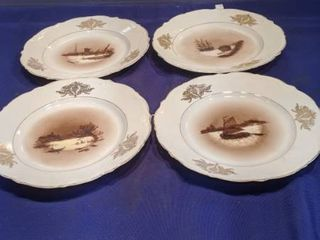 four decorated plates