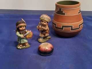 Indian figurines and bowl
