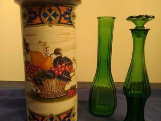 pottery vase green Bud vase Avon emerald Budd vase