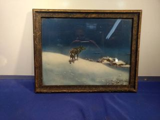antique frame lone wolf print 1920s