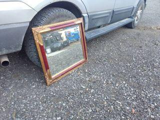 vintage wood golden framed mirror