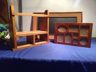 nice oak shelf wood picture album with picture pages and hanging chalkboard cork board