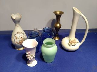 variety of nice vases small pink one is lefton china 1847 p al