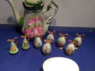large pitcher and eight small vases and a Gorman fine China linen flowers keepsake boxl