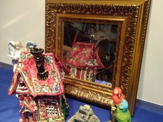 pretty mirror Angel cozy cottage frogs parrots