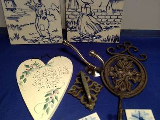 made in England tiles hooks and a heart