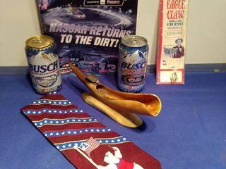 July 2013 NASCAR program Bush beer Talladega Busch light Bristol motor speedway fish hooks a genuine horn ashtray Coca Cola tie