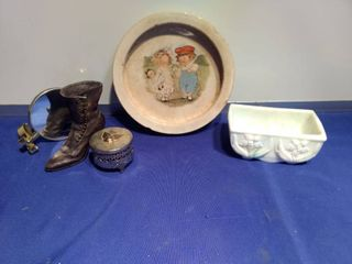 antique Buffalo pottery bowl made in USA green and white dish mirror and keepsake and a shoe