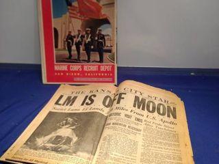 1969 articles Kansas City Star Moon landing and Marine corps recruit Depot late 1950s