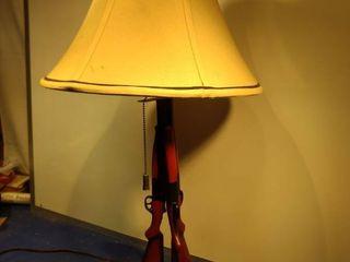 beautiful wood rifle lamp carved base needs wiring