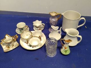 China cups and saucers vases toothpick holder international ironstone creamer