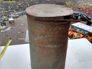 vintage Oliver oil and gas can St louis Missouri 16 in tall 10 in across has some damage