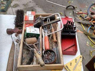 mixed wood box with ballpeen hammer 12 in crescent wrench a few bits and other tools