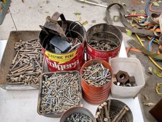 8 containers of mixed bolt screws nuts and other items
