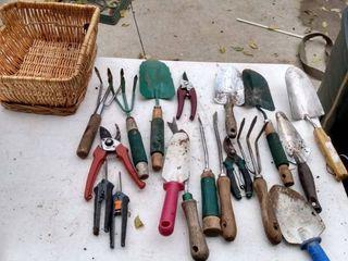 basket full of garden tools
