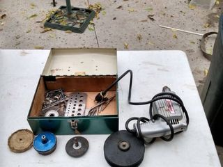 cummins electric drill and metal case with extras working