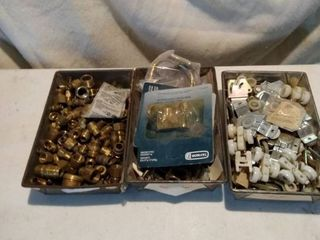 3 metal pans with brass fittings rollers and other garage items