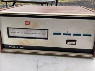 8 track player plugged in comes on no further testing done