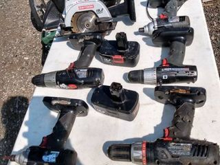 seven Craftsman battery operated tools with two batteries and a charger untested