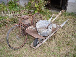 Grp  of Old Bike  Wheelbarrow  Milk Can  etc