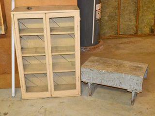 Glass Door Cabinet and Barn Board Stool