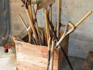 Wooden Crate of Assorted Garden Tools