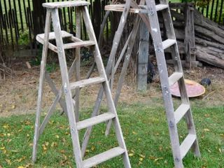 2  Wooden Step ladders and Scythe