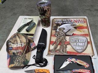 Metal Sign  Tumbler  Ball Cap   Various Knives