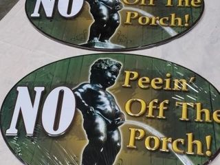 2 No Peein  Off The Porch  Metal Sign