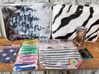 Blankets  Bags  Tumbler  Knives   Am  Flag