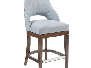 Madison Park Marshall Counter Stool with Swivel Seat  Blue  Retail 231 75