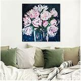 Oliver Gal Floral and Botanical Wall Art Framed Canvas Prints  Claire Sower  Peonies by The Bucket  Florals   Pink Blue  24  x 24    Retail 162 49