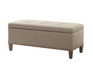 Madison Park Tessa Storage Bench  Taupe Tufted Top  Retail 139 99