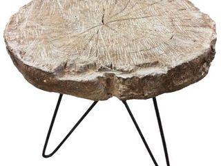 Alva Black Natural Wood Slab End Table  Missing Hardware Damage  Retail 81 48