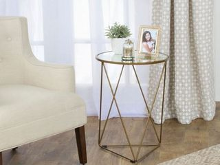 HomePop Metal Accent Table Triangle  Round Glass Top  Retail 84 68
