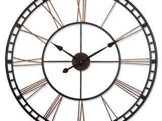 The Tower XXl large Open Face Metal Wall Clock 39    Black and Gold II  Retail 164 49