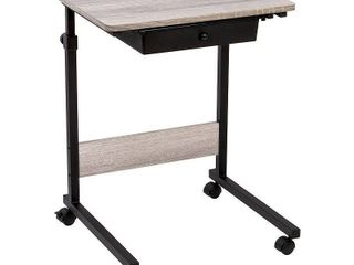 Rolling Table Adjustable Height  Matte Black with Wood Grain laminate Top