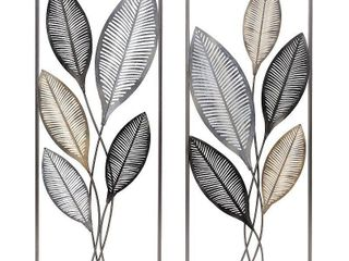 FirsTime   Co  Metallic leaves Wall Decor Set  American Crafted  Antique Gold  Metal  14 x 1 5 x 35 5 in   14 x 1 5 x 35 5 in  Retail 83 99