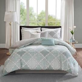 Madison Park Karyna Aqua 9 piece Cotton Sateen Printed Comforter Set  Queen  Retail 149 97
