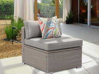 COSIEST Outdoor Armless Chair  Blue Brown