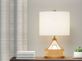 Carson Carrington Borup Glass and linen Table lamp in luster
