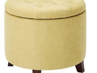 Adeco Round Storage Ottoman  Height 17  Flax Yellow