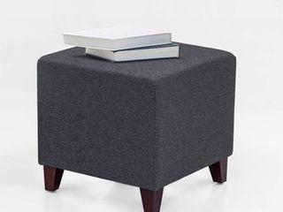 Adeco Simple British Style Cube Ottoman Footstool 16 x16 x16  Heather Gray