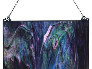 River of Goods Blue and Purple Watercolor 10 75  High Single Pane Stained Glass Window Panel