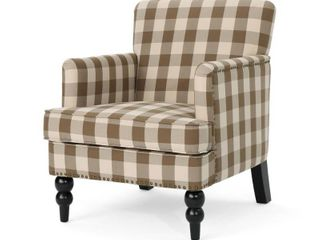 Harrison Tufted Fabric Club Chair by Christopher Knight Home  Checkerboard Pattern  Retail 272 49