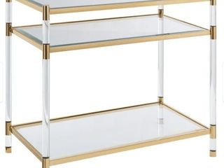 Silver Orchid Bruns Acrylic and Glass 2 shelf Accent Table  Retail 339 99