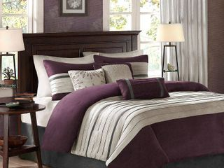 Madison Park Kennedy Purple Comforter King Set  Retail 122 57