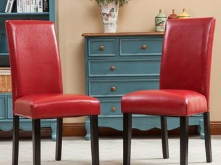 Porch  amp  Den lawrence Solid Wood leatherette Padded Parson Chair  Red  Set of 2  Retail 104 99