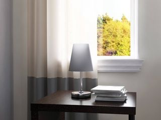 Porch  amp  Den Custer Sand Nickel Fabric Shade Mini Table lamp  White
